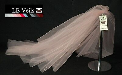 Pink Blush Crystal Veil Wedding Any Length 2 Tier Long Short LBV151 LB Veils UK