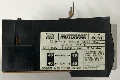 Crabtree 180/MR Overload Relay 16-18A DOL 28-31A SD