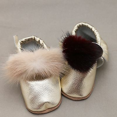 Baby Shower Genuine Leather Infant Gold Baby Shoes With Fur Pom Pom