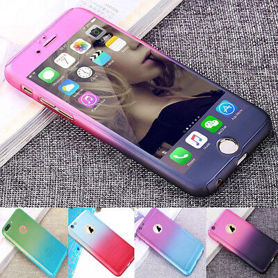 360° Shockproof Full Body Hybrid Tempered Glass Case Cover F iPhone X 8 6 7 Plus