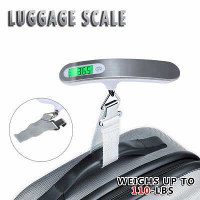1pc  Portable Travel Tare 110lb 50kg Hanging Digital Suitcase Luggage Scale