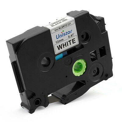 1PK TZ 231 P-touch Label Tape Compatible for Brother Black on White 12mm X 8m