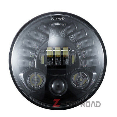 7'' LED Black Round Hi/Lo Beam Adaptive Motorcycle Headlight For Harley Davidson