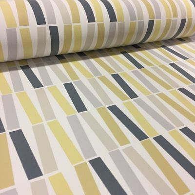 Retro Line Wallpaper Bright Funky Yellow Navy Lines PS Washable Feature Paper