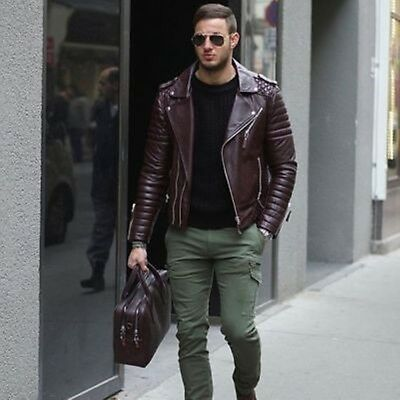 New Men Genuine Lambskin Leather Jacket Brown Slim fit Biker Motorcycle jacket