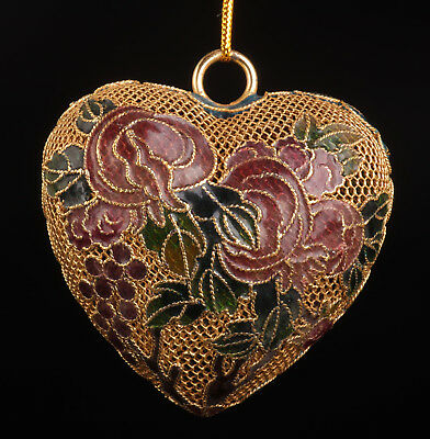Cloisonne Pendant Old Heart-Shaped Handmade Crafts Gift Collection