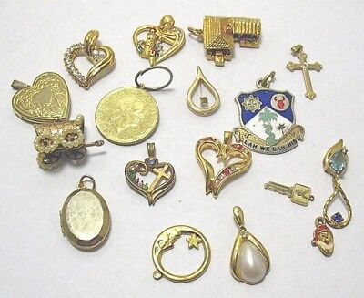 Vintage Jewelry Lot 18 Pcs Gold Filled Charms Pendants 57 Grams Lot 22