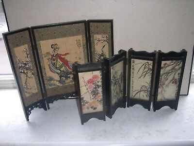 Pair of vintage Chinese Table Screens, hand-painted double-sided..