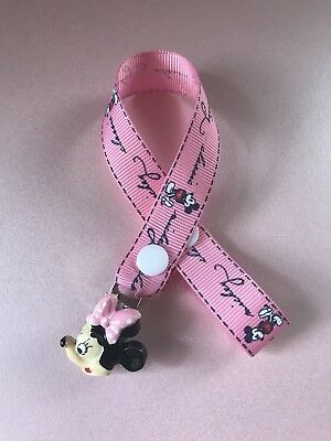 Minnie Mouse Dummy Soother  Pacifier Clip  ~ NEW ~ NO BEADS ~ Hot Pink