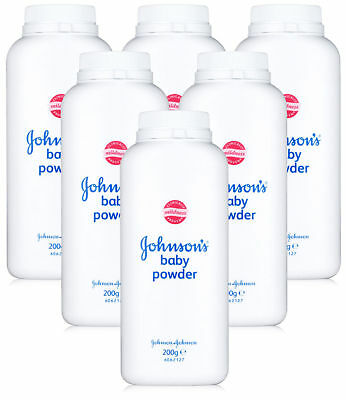 Pack of 6 x Johnsons Baby Powder 200g Talc Talcum Powder Bottle Skin Care Mild