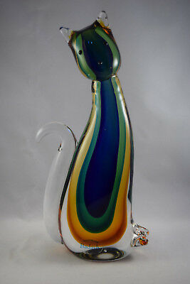 Badash Artistic Murano Style Glass Cat Figurine in Stylish Colourway - VGC