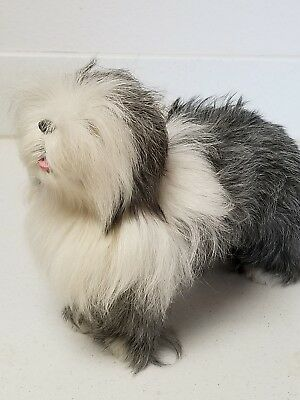 Bearded Collie Dog Realistic Replica Collectible Hand Made from Goat Hair