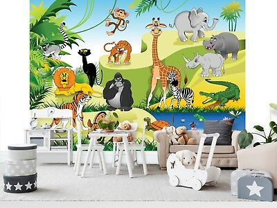 Wall Mural Photo Wallpaper Image EASY-INSTALL Fleece Animals in the Jungle Kids
