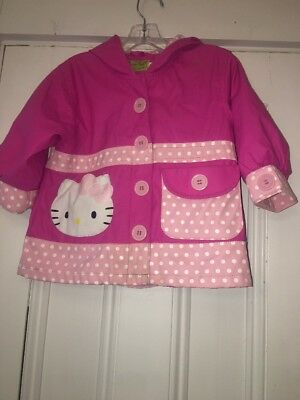 f3d04dcfb WESTERN CHIEF Toddler Girls Pink HELLO KITTY Rain Jacket Coat Lined Sz 2t  Ruffle