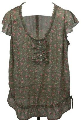 Motherhood Maternity Womens Ladies Short Sleeve Ruffled Blouse Top Floral Sz XL
