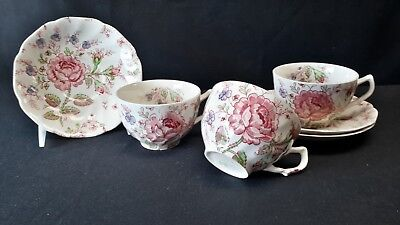 Johnson Brothers Rose Chintz Pink Set of 3 Cups & Saucers