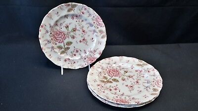 Johnson Brothers Rose Chintz Pink Set of 4 Luncheon Plates