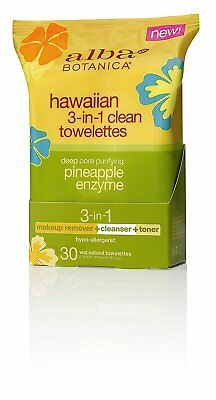 30 Alba Botanica Hawaiian 3-in-1 Clean Towelettes Deep Pore Purifying Pineapple