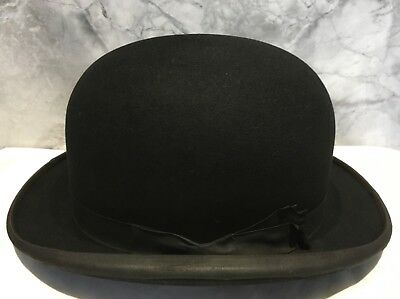 Vintage Black Bowler Hat Size 7, Scott & co London, Hatters to the Royal Family