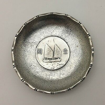 Rare Hong Kong Chinese Export Silver Sterling Nut Salt Dish w Ship Coin Cwai Kee