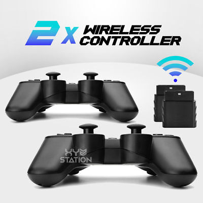 New Black Wireless Twin Shock Game Controller 2.4G for PS2 PS1 PSX