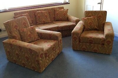 Original 1930s suite sofa 2 armchairs reupholstered in Art Nouveau style fabric
