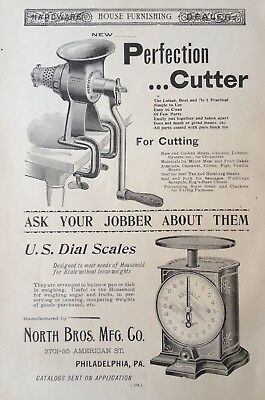 1895 Ad(30)~North Bros. Mfg. Co. Phil., Pa. Perfection Food Cutter & Dial Scales