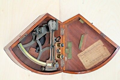 Sextant, Spencer Browning & Co., brass with bone scales, with case.