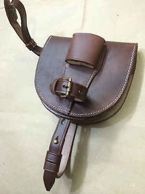 Latest WWI Leather Horseshoe Case - ANTIQUE BROWN