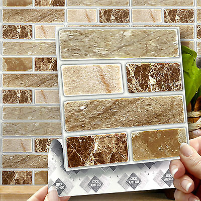 8 Onyx Stone Stick On Self Adhesive Wall Tile Stickers For Kitchen & Bathroom