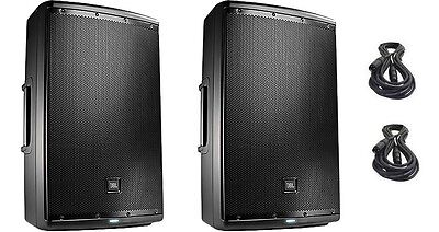 """2 NEW JBL EON615 - 1000W 15"""" 2-Way Powered Speaker with Free XLR Cables"""