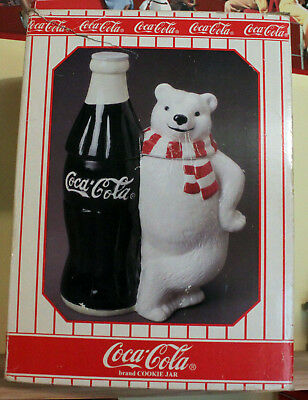 Coca Cola Coke Cookie Jar Polar Bear Standing by Bottle Never Displayed In Box