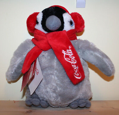 Coke Coca Cola Penguin Plush Stuffed Animal With Earmuffs & Scarf With Tags 10""