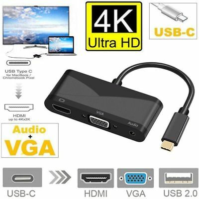 USB 3.1  Type-C To HDMI VGA 3 In 1 Adapter for Laptop Macbook Mobile Phone