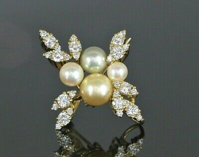 $6,950 18K Solid Yellow Gold Akoya Pearl 1.30ct G VS1 Round Diamond Pin Brooch