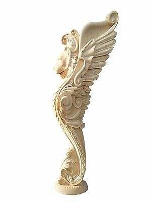 "50"" Wooden stairs Baluster Newel, unique carved gryphon statue, decor element"
