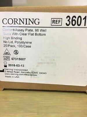 Corning 3601 Polystyrene Flat Bottom 96 Well High Bind Microplate, Without Lid