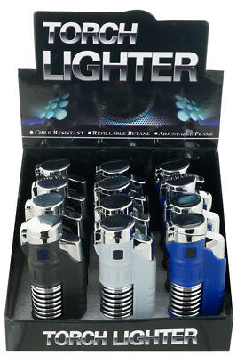 (Lot of 12) Double Jet Torch w/ SPRING DESIGN Lighter Adjustable Refillable 370D