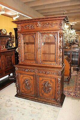 French Oak Black Forest Antique 4 Door Buffet Hutch Bookcase Display Cabinet