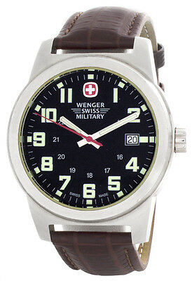 Wenger Men's Black Dial Brown Leather Strap Watch 7290X