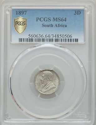 1897 South Africa 3 Pence, PCGS MS 64