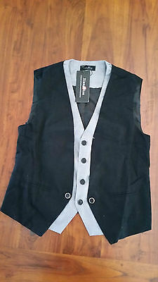 XiangNian Black w Grey trim waist coat adjustable back lined BNWT free post D66