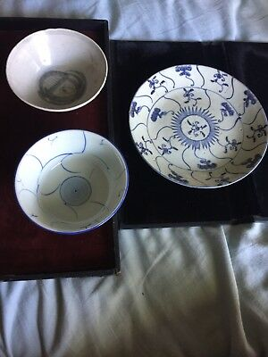 Lot Of 3 Chinese Ming & Ching?? Blue & White Porcelain Plate And Bowls