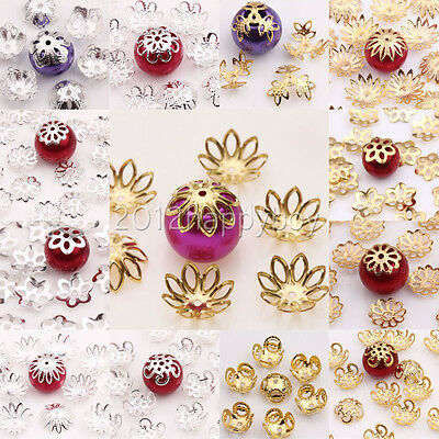 50-200X Gold/Silver Plated Metal Hollow Out Flower Spacer Bead Caps Craft Making