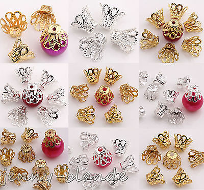 25-150PCS Gold Silver Flower End Bead Caps Charm Jewelry Finding 6/8/12/15mm DIY