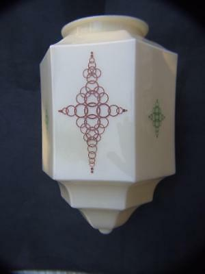 Art Deco Cream Geometrical Shape Light Shade  with Brass Gallery 1930's