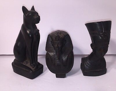 Egyptian Carved Sculptures Pharoahs And Cat