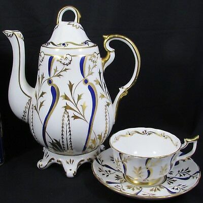 Royal Chelsea Painted Gold & Blue Ornate Designs Teapot Coffee Pot