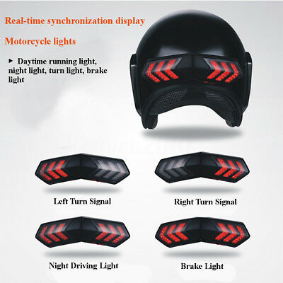 Wireless LED Safety Brake Stop & Turn Signal Light Indicators Motorcycle Helmet