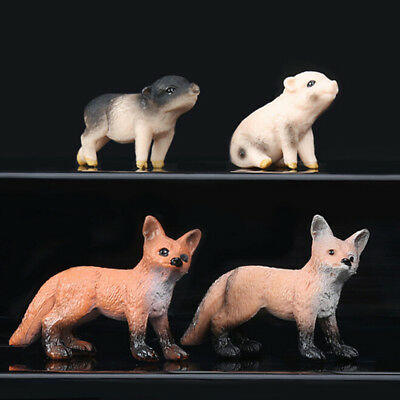 4 Style Solid Simulation Wild Animal Model Small Pig Fox Kids Toys